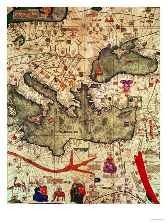 Detail of North Africa & Europe from the Catalan Atlas by Abraham Cresques (1325-87) 1375 Giclee Print
