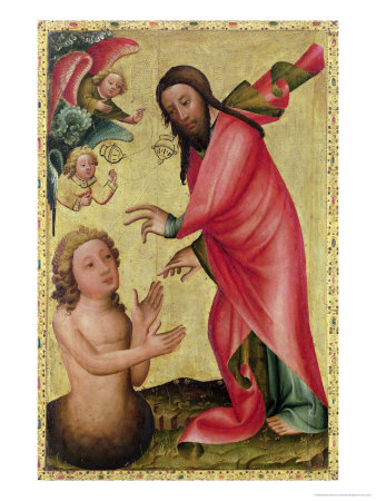 The Creation of Adam, Detail from the Grabow Altarpiece, 1379-83 Giclee Print by  Master Bertram of Minden