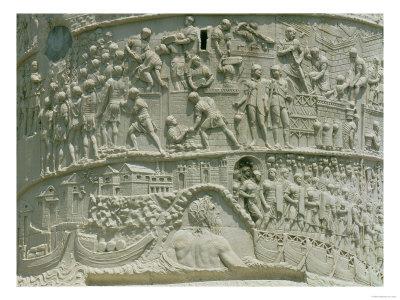 The Roman Army Crossing the Danube, Detail from Trajan's Column, 113 AD (Limestone) Premium Giclee Print
