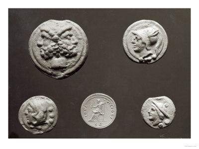 Five Coins Depicting Janus, Jupiter, Mercury and Minerva, 753 BC-476 AD Giclee Print