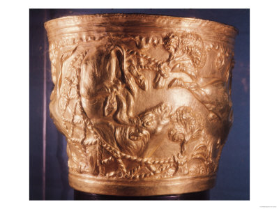 Cup, of the Capture of a Wild Bull, Found in the Royal Tomb of Vaphio, Sparta, circa 1500 BC Giclee Print