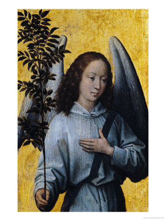 Angel Holding an Olive Branch Giclee Print by Hans Memling