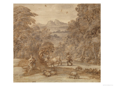 Landscape with Mercury and Apollo as a Shepherd, 1673 (Pen and Brown Tint, Grey Indian Ink Wash) Giclee Print by Claude Lorrain