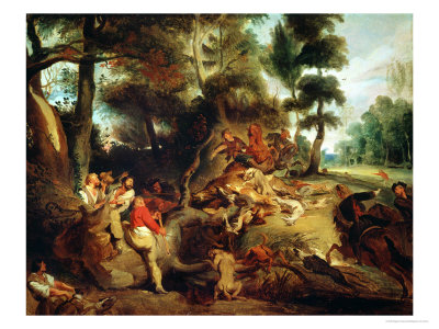 The Wild Boar Hunt, after a Painting by Rubens, circa 1840-50 Premium Giclee Print by Eugene Delacroix