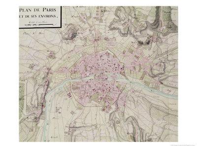 """Map of Paris and Its Surroundings, from """"Oisivetes"""" Premium Giclee Print by Sebastien Le Pretre de Vauban"""