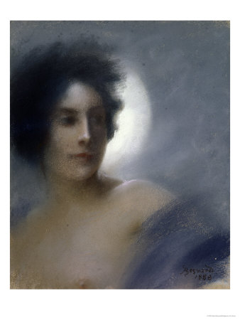 Woman with a Crescent Moon Or, the Eclipse, 1888 Premium Giclee Print by Albert Besnard