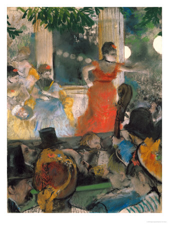 Cafe Concert at Les Ambassadeurs, 1876-77 Premium Giclee Print by Edgar Degas