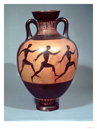 Panathenaic Black Figure Amphora Depicting a Foot Race (Pottery) Giclee Print