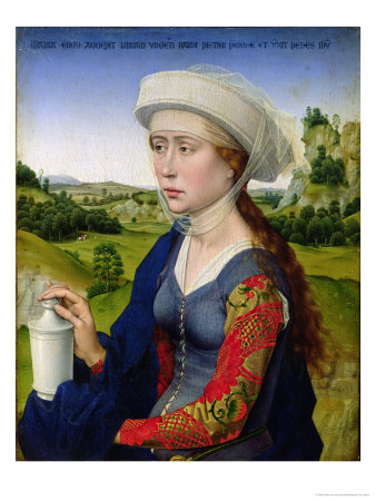 Mary Magdalene, from the Right Hand Panel of Triptych of the Braque Family Premium Giclee Print by Rogier van der Weyden