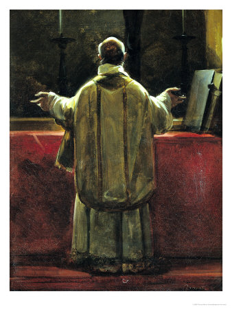 Priest at the Altar Premium Giclee Print by Francois-Marius Granet