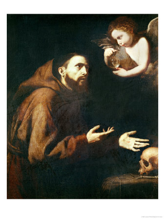 Vision of St. Francis of Assisi Premium Giclee Print by Jusepe de Ribera