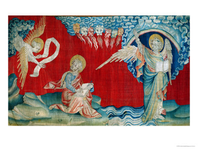 """The Angel with an Open Book, No.27 from """"The Apocalypse of Angers,"""" 1373-87 Premium Giclee Print by Nicolas Bataille"""