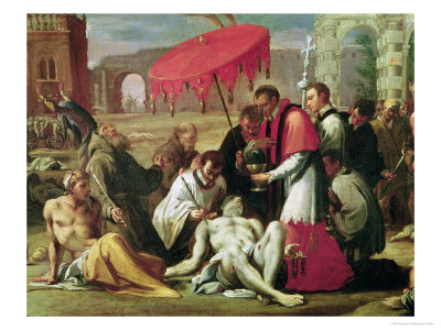 St. Charles Borromeo (1538-84) Administering the Sacrament to Plague Victims in 1576 Premium Giclee Print by Sigismondo Caula