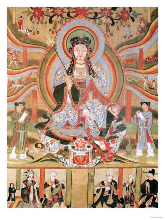 Buddhist Banner Depicting Dizang and the Six Roads to Rebirth, from Dunhuang (Painting on Silk) Premium Giclee Print