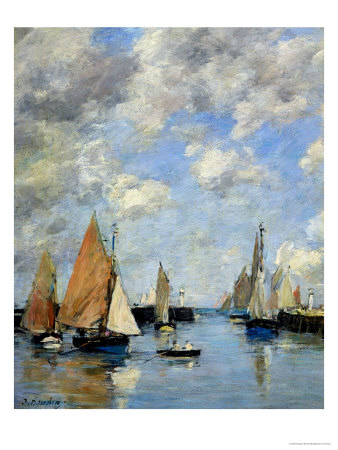 The Jetty at High Tide, Trouville Premium Giclee Print by Eugène Boudin
