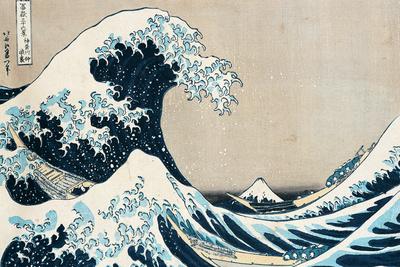 """Den store bølge ud for Kanagawa, fra  serien """"36 Views of Mt. Fuji"""", """"Fugaku Sanjuokkei"""" Premium Giclée-tryk af Katsushika Hokusai"""