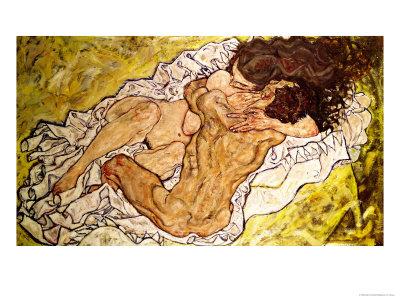 The Embrace, 1917 Premium Giclee Print by Egon Schiele