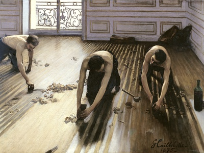 The Parquet Planers, 1875 Premium Giclee Print by Gustave Caillebotte