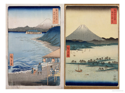 "Mountains and Coastline, Two Views from ""36 Views of Mount Fuji,"" Pub. by Kosheihei, 1853 Premium Giclee Print by Ando Hiroshige"