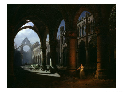 Interior of an Abbey in Ruins, 1848 Premium Giclee Print by Hippolyte Victor Valentin Sebron