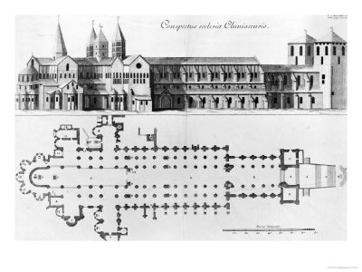 Plan and Elevation of Cluny Abbey Gicleetryck