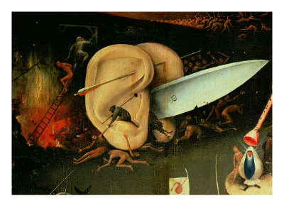 The Garden of Earthly Delights: Hell, Right Wing of Triptych, Detail of Ears with a Knife, c. 1500 Premium Giclee Print by Hieronymus Bosch