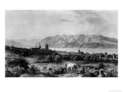 View of Lausanne Premium Giclee Print by Johann Ludwig Aberli
