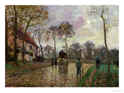 The Coach to Louveciennes, 1870 Premium Giclee Print by Camille Pissarro