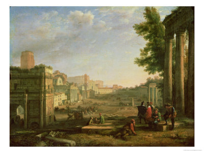 View of the Campo Vaccino, Rome Premium Giclee Print by Claude Lorrain