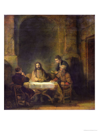The Supper at Emmaus, 1648 Premium Giclee Print by  Rembrandt van Rijn