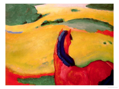 Horse in a Landscape, 1910 Premium Giclee Print by Franz Marc
