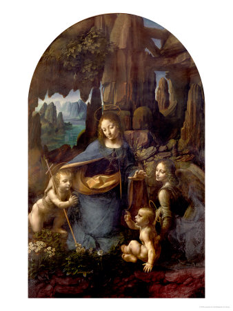 The Virgin of the Rocks (With the Infant St. John Adoring the Infant Christ) circa 1508 Premium Giclee Print by  Leonardo da Vinci