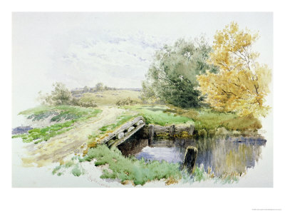 Landscape with Bridge over a Stream Premium Giclee Print by John Clayton Adams