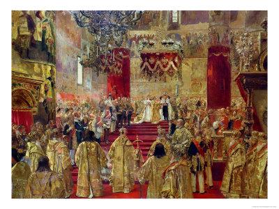 Study for the Coronation of Tsar Nicholas II (1868-1918) and Tsarina Alexandra (1872-1918) Premium Giclee Print by Henri Gervex