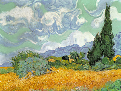 Wheatfield with Cypresses, 1889 Premium Giclee Print by Vincent van Gogh