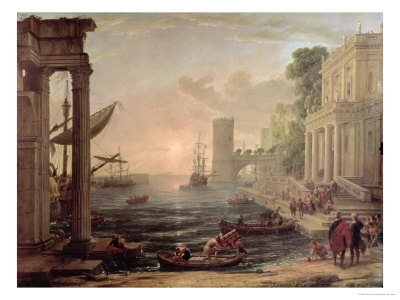 Seaport with the Embarkation of the Queen of Sheba, 1648 Premium Giclee Print by Claude Lorrain