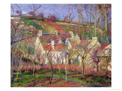 The Red Roofs, or Corner of a Village, Winter, 1877 Premium Giclee Print by Camille Pissarro