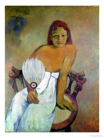 Girl with Fan, 1902 Premium Giclee Print by Paul Gauguin