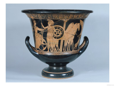 Attic Red-Figure Kalyx Krater Depicting a Hoplite Leaving for the War Premium Giclee Print