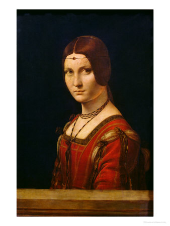 Portrait of a Lady from the Court of Milan, circa 1490-95 reproduction procédé giclée