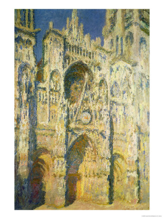 Rouen Cathedral in Full Sunlight: Harmony in Blue and Gold, 1894 Premium Giclee Print by Claude Monet