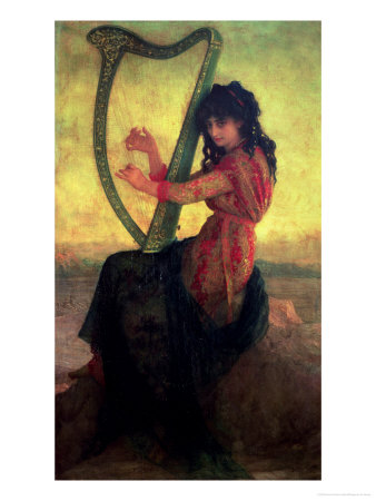 Muse Playing the Harp Premium Giclee Print by Ernest Antoine Hebert