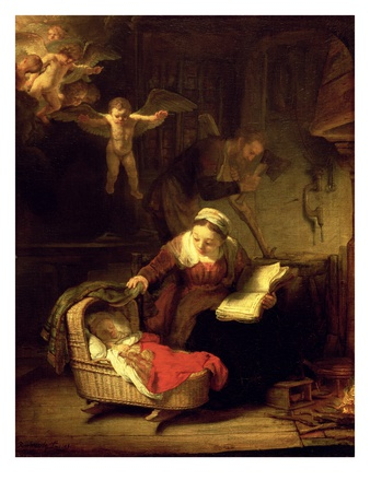 The Holy Family, c.1645 Premium Giclee Print by  Rembrandt van Rijn