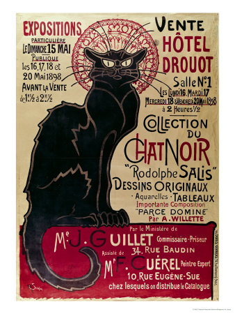 Poster Advertising an Exhibition of the Collection Du Chat Noir Cabaret at the Hotel Drouot, Paris Gicleetryck