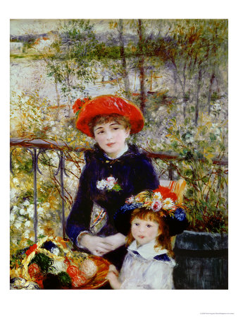 Two Sisters, or on the Terrace, 1881 Premium Giclee Print by Pierre-Auguste Renoir
