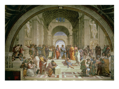 School of Athens, from the Stanza della Segnatura, 1510-11 reproduction procédé giclée