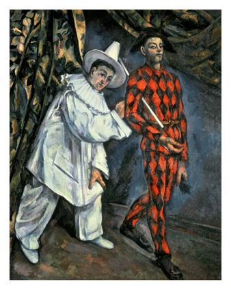 Pierrot and Harlequin (Mardi Gras), 1888 Premium Giclee Print by Paul Cézanne