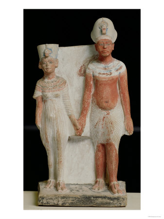 Statuette of Amenophis IV (Akhenaten) and Nefertiti, from Tell El-Amarna, Amarna Period New Kingdom Giclee Print