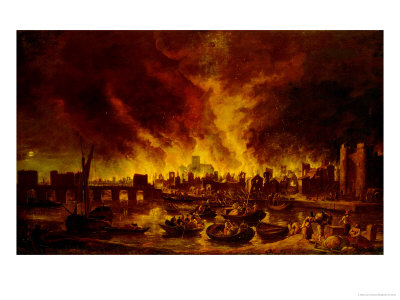 The Great Fire of London in 1666 Premium Giclee Print by Lieve Verschuier