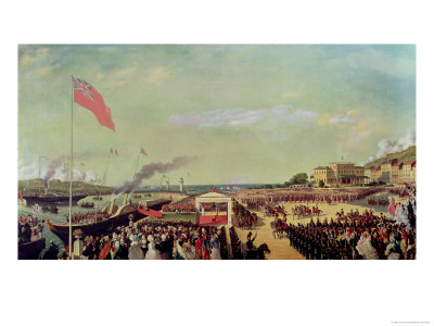 Napoleon III (1808-73) Welcoming Queen Victoria (1819-1901) at the Port of Boulogne Giclee Print by Louis Armand